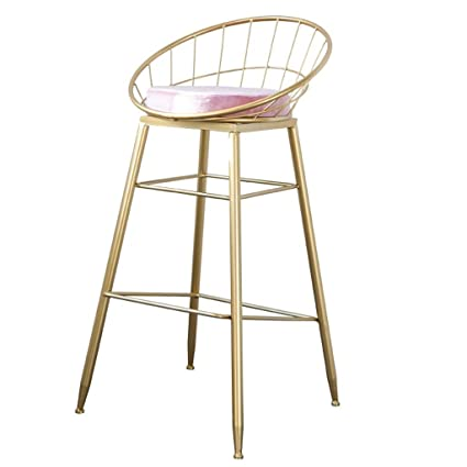 Barstools Chair Footrest With Pink Sponge Cushion Backrest Dining Chairs  For Kitchen Bar Counter Stool Max