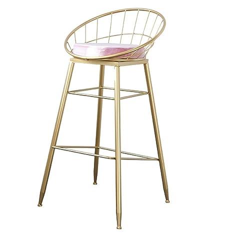 Taburete de Bar Silla reposapiés con Respaldo de Esponja Rosa Respaldo sillas de Comedor para Bar