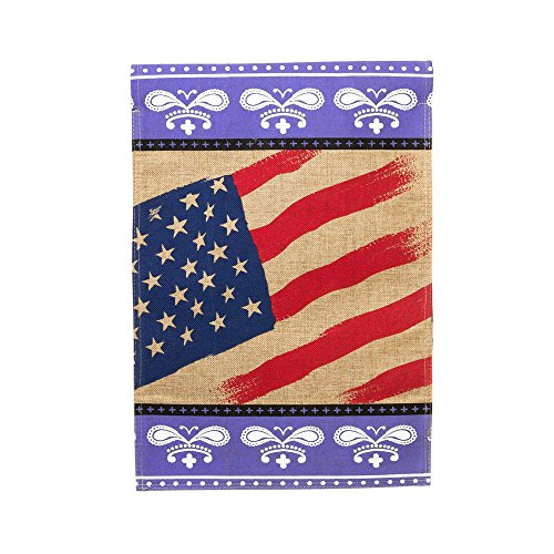 Evergreen Burlap Patriotic Bandana Garden Flag, 12.5 x 18 inches