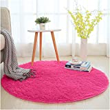 SANMU Soft Round Rug,Fluffy Silky Carpet Fashion Color Smooth Bedroom Mats Round Shag Floor Pad for Girls Bedroom Decorate and Indoor Use 4 Feet Rose Red