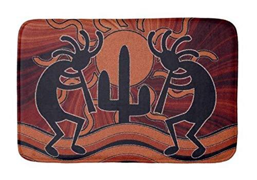 Lovestand-Doormat Welcome Mat Indoor/Outdoor Bath Floor Rug Decor Art Print with Non Slip Backing 30X18 inch Desert Sun Cactus Southwest Design Kokopelli Bathroom mat