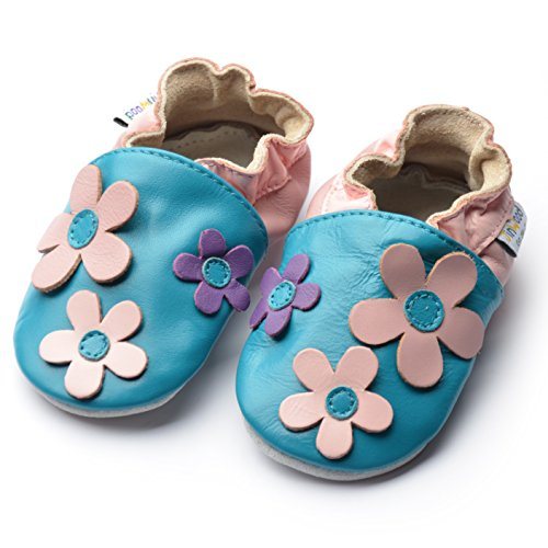 Jinwood designed by amsomo Verschiedene Modelle - Lederpuschen - Echt Leder - Hausschuhe - Krabbelschuhe - Mädchen - Jungen - Soft Sole/Mini Shoes Div. Groeßen 17/19-35/36 big flower pink soft sole