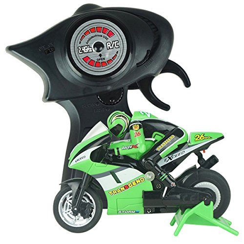 PIXNOR Radio Control Mini Electric Motorcycle 2.4G 3CH Toy RC Vehicles (Green)