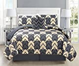 Mk Collection Bedspread coverlet quilted Modern Taupe Dark Grey/Charcoal Over Size New #184 (California King 5 Piece Set)