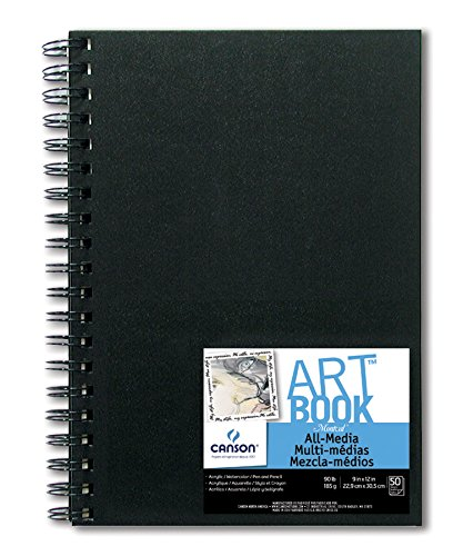 Canson All Media Art Book Paper Pad, Side Wire Bound, 9 x 12 Inch, 50 Sheets