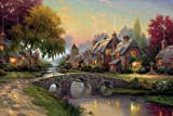 Van Eyck Pastoral Scenery Printed Thomas Kinkade Landscape Oil Painting Prints on Canvas Wall Art Picture for Living Room Home Decorations HD-034