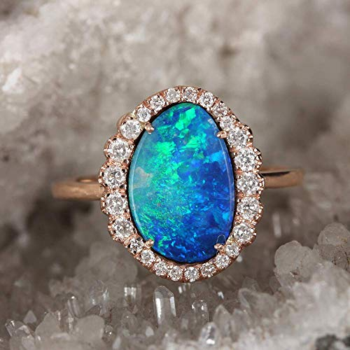 Natural 1.36 Ct Boulder Opal Gemstone Ring Diamond Pave Solid 14k Rose Gold Handmade Fine Jewelry Xmas Gift For Her (Boulder Opal)