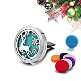 Car Air Conditioner Outlet Perfume Clip Diffuser Locket Vent Clip Christmas Milu Deer Essential Oil Aromatherapy Fragrance 316L Stainless Steel Locket with 7 Washable Refill Pads
