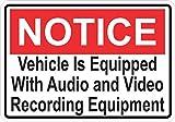 5in x 3.5in Notice Audio and Video Recording Sticker Vinyl Door Sign