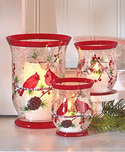 set of 3 cardinal crackled glass hurricane votive candle holder christmas centerpiece accent holiday decoration - How To Decorate Votive Candle Holders For Christmas