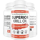 Krill Oil 1000 mg (60 Softgels) with Omega-3s EPA, DHA, Astaxanthin and Phospholipids