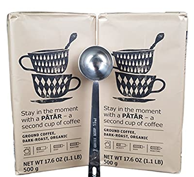 IKEA Ground Coffee, Dark Roast Bulk Bundle - 100% Organic Arabica Coffee - 17.6 Oz Each (Pack of 2 - Total 35.2 oz) With Stainless Steel Measuring Coffee Spoon