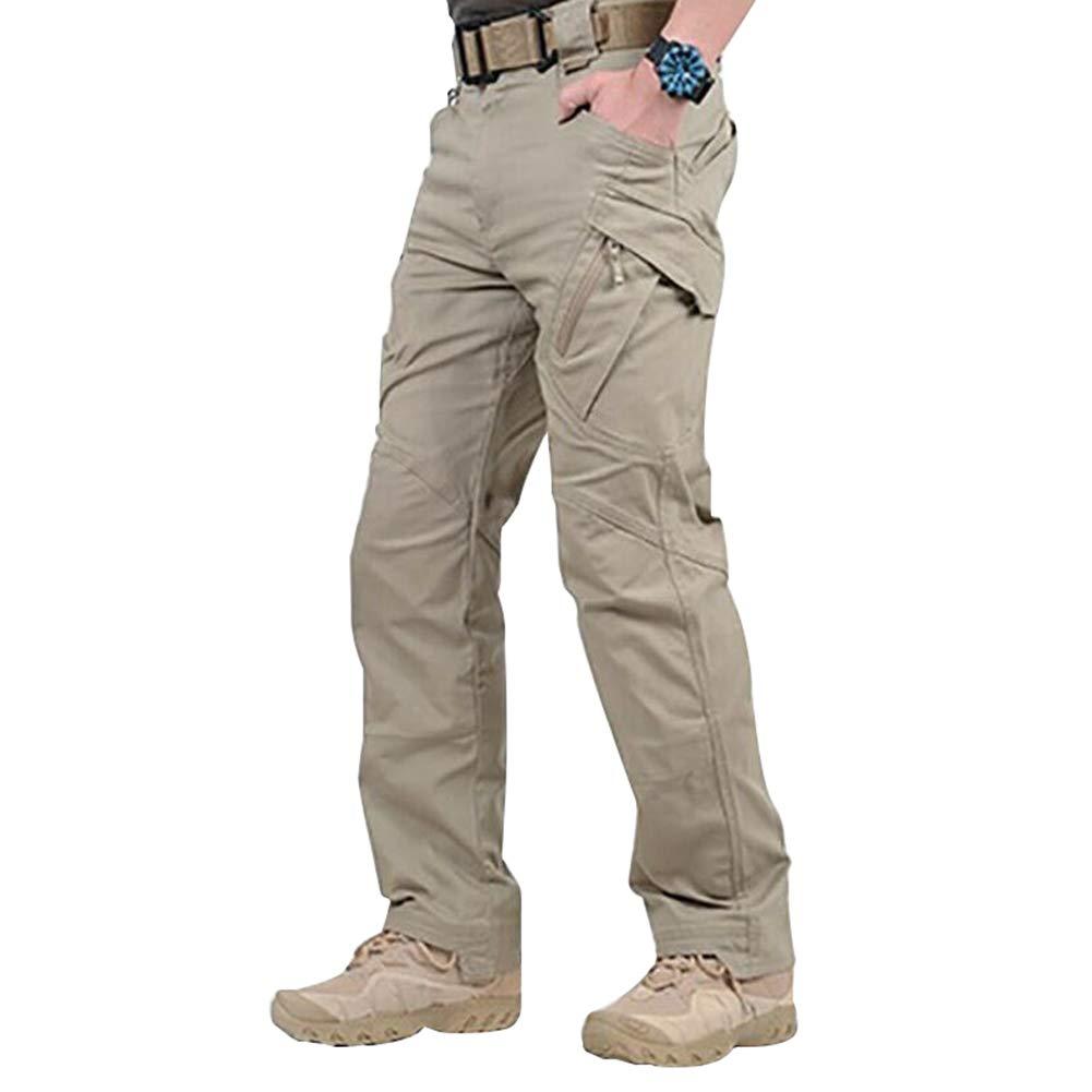 MAyouth Hommes Travail Imperm/éable Cargo Longues Poches De Pantalon Pantalon Ample avec Le Bouton Zip