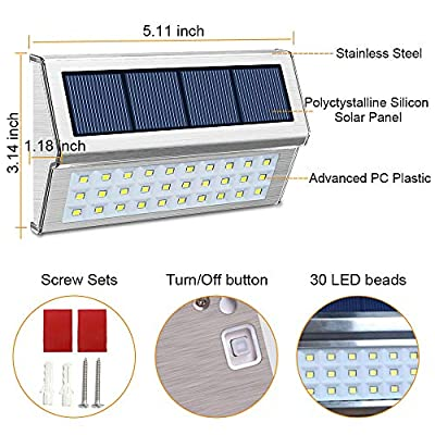 ROSHWEY Solar Deck Lights Outdoor, Waterproof Step Lamps Stainless Steel 30 LED Walkway Security Lights for Garden Fence Patio Pathway (Cool White Light, 8 Pack)