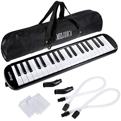 Anpro 37 Key Melodica Instrument/Harmonica Instrument Air Piano Keyboard with 2 Mouthpieces Musical Instrument and Carrying Bag for Teaching and Playing Christmas Gift for Kids(37 KEY) ()