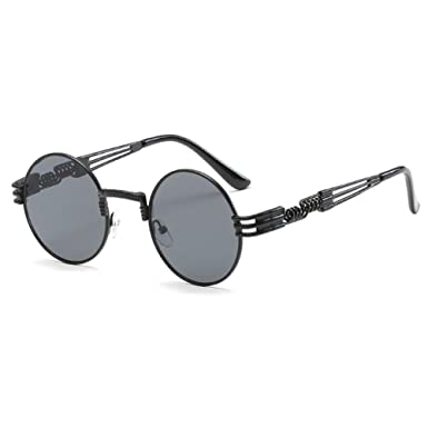 hibote Vintage Retro Metal Round Circle Frame Womens Mens Sunglasses ...