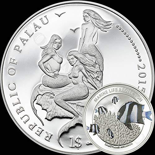 - 2015 WHITETAIL DAMSELFISH - Palau Marine Life Protection Silver Plated Copper CuNi One Dollar Aquarium FIsh Coin $1 MERMAID
