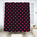 Hot Pink Polka Dot Shower Curtain scocici Bathroom Curtain Separation Door Curtain Shower Curtain,Hot Pink,Old Fashioned Polka Dots Symmetrical Pattern in Vibrant Color Classical Pop Decorative,Black Hot Pink,72