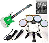 Playstation 3 PS3 Rock Band BEATLES Video Game Complete Bundle with Wireless Guitar and drums + USB Microphone hero kit set play music