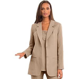 Jessica London Women's Plus Size Linen-Blend Blazer New Khaki, 12 ...