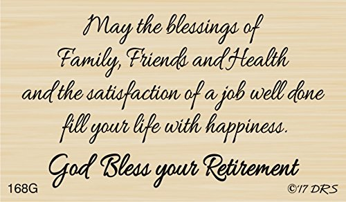 (God Bless Retirement Greeting Rubber Stamp by DRS Designs Rubber Stamps)
