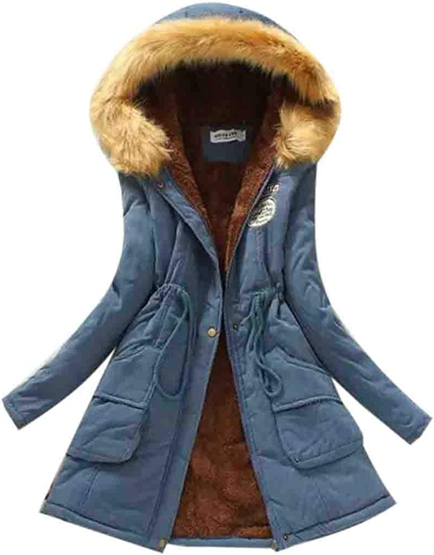 JXG Women Plus Size with Faux-Fur Trim Cargo Hooded Warm Winter Coat Five US L