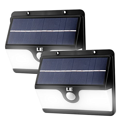 LE 30 LED Solar Motion Sensor Light, Waterproof Security Lights Wall Lamp with 120 Detection Angle, Daylight White Step Light For Outdoor Patio Garden Yard Driveway Pathway Fence Home ( Pack of 2 )