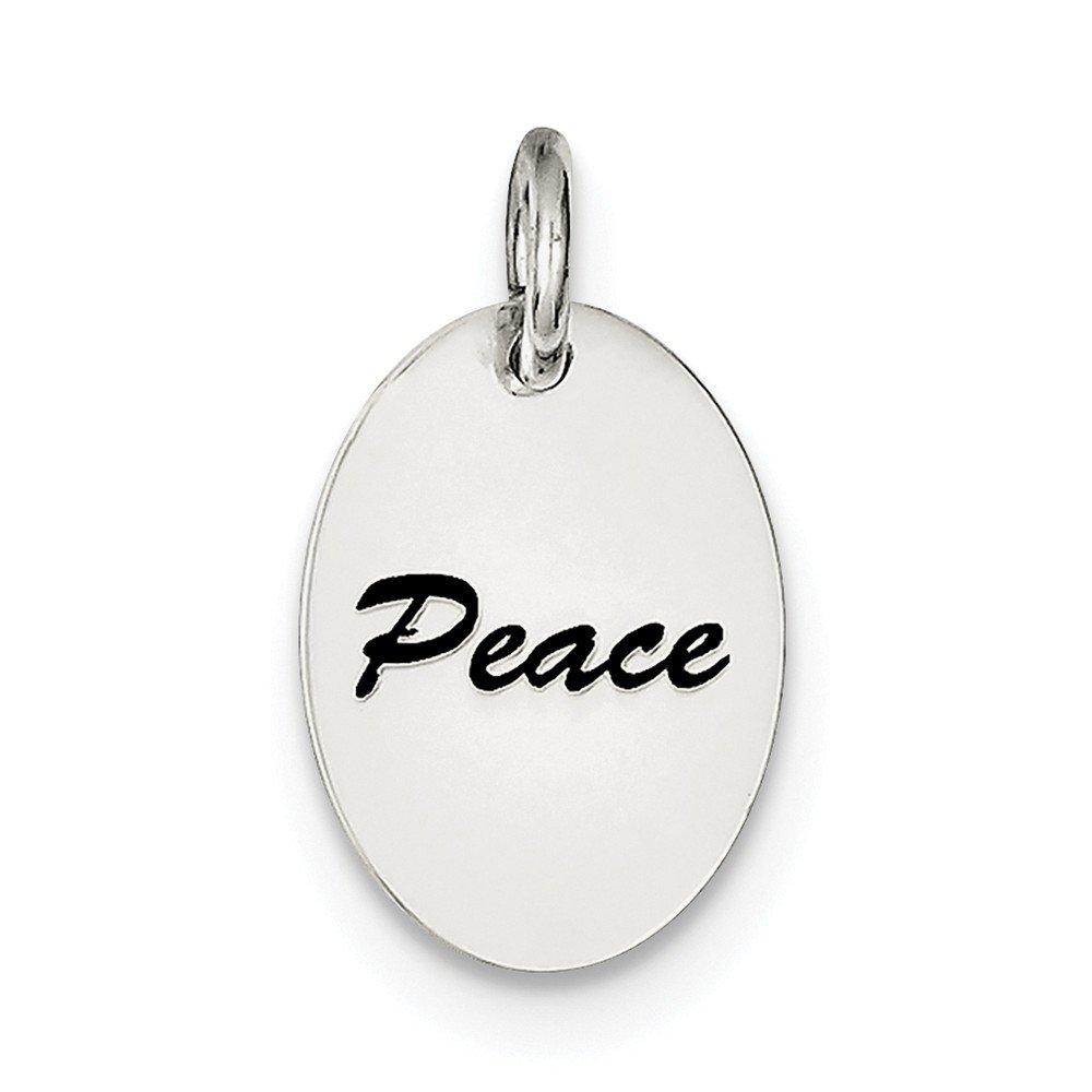 13mm x 18mm Jewel Tie 925 Sterling Silver Polished Enamel Peace Pendant