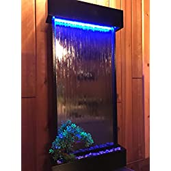 """Wall WaterFall XL 46"""" Tall x 22"""" Water Fountain, Silver Mirror, Black frame, Color Lights Remote Ctrl by JERSEY HOME DECOR"""