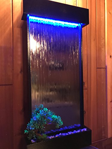 Wall WaterFall XL 46'' Tall x 22'' Water Fountain, Silver Mirror, Black frame, Color Lights Remote Ctrl by JERSEY HOME DECOR by Jersey Home Decor