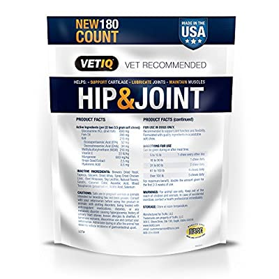VetIQ Maximum Strength Hip & Joint, 180 Chicken Flavored Soft Chews for Dogs, 22.2 oz
