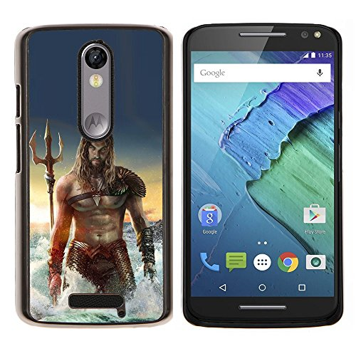 Sexy Man Sea Abs Muscles Poseidon - Aluminum Metal&Hard Plastic Back Case Cover - Black - Motorola Droid Turbo 2 / Moto X Force