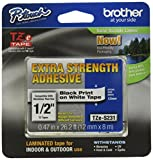 Brother Laminated Tape Black on White Extra Strength (clam), 12mm (TZeS231CS) - Retail Packaging