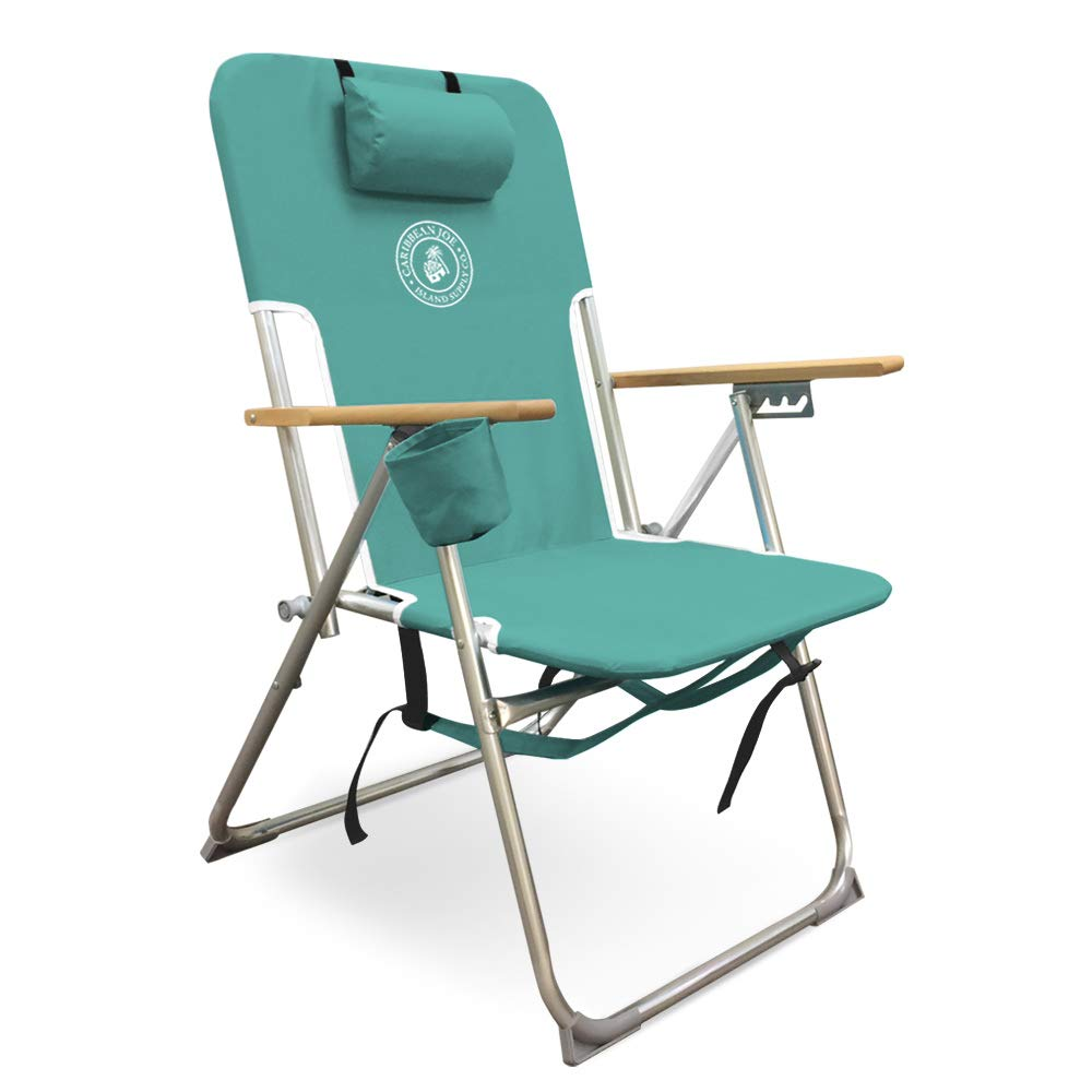 Caribbean Joe CJ-7779TEAL Five Position high Weight Folding Beach Chair, Teal