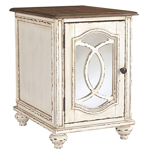 Signature Design by Ashley T743-7 Realyn Chairside End Table, White/Brown (Cement Top End Table)