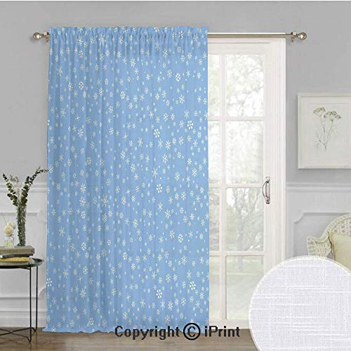 Winter Extra Wide Chiffon Sheer curtain,Cute Little Snowflakes Falling from the Sky December New Year`s Eve Blizzard Icons Decorative,for Large Window/Sliding Glass Door/Patio Door,100x96inch,Blue -