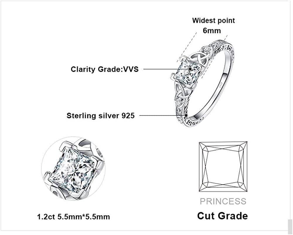 Argent Sterling 5-Stone Taille Princesse 1.2 ct Zircon Cubique Bague De Fiançailles