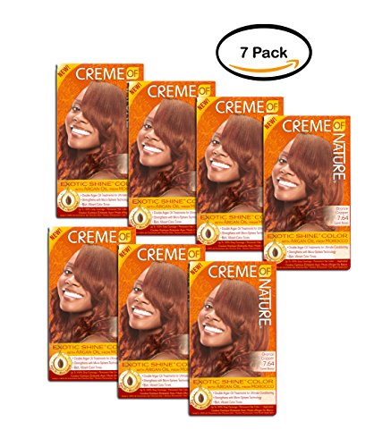 PACK OF 7 - Creme of Nature Exotic Shine Color 7.64 Bronze Copper Permanent Hair Color, 1 application by Creme of Nature