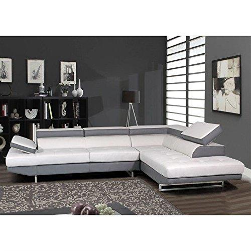 (Global Furniture Natalie Sectional Sofa, Grey with Dark Grey)