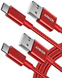 USB Type C Cable, Anker [2-Pack 6 Foot] Premium Nylon USB-C to USB-A Fast Charging Type C Cable, for Samsung Galaxy S10 / S9 / S8 / Note 8, LG V20 / G5 / G6 and More(Red)