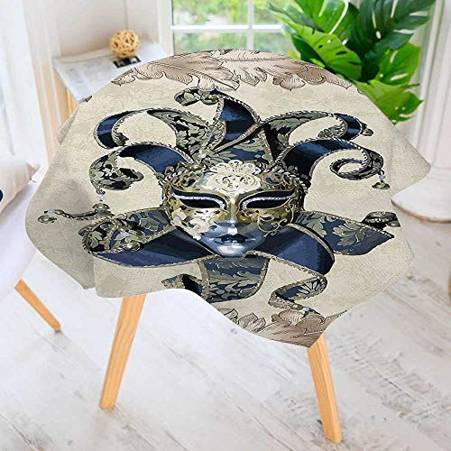 UHOO2018 Table Decoration Durable-Italian Themed Venetian Mask Leaves Romantic Navy Beige Gold for Home Kitchen Dining roomWaterproof Coffee Tablecloth 40