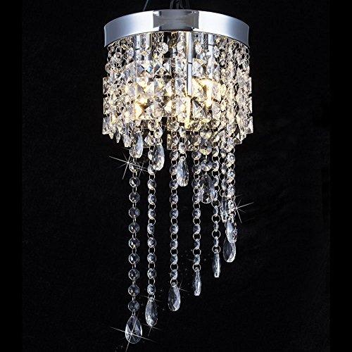 Dining Room Package - 3 Light Mini Crystal Chandelier, Modern Flush Mount Ceiling Light, Raindrop Chandelier Lighting Fixture for Dining Room, Bedroom, Stairwells, Banquet Hall, W7.9