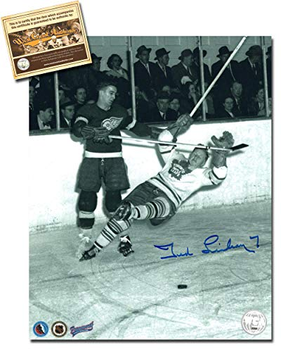 (Ted Lindsay Autographed Signed 8x10 Hockey Photo Memorabilia Certified with WCA Dual Authentication Holograms and COA)