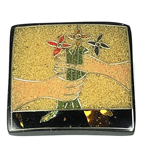 [ABCgems] Vintage Coconut Palmwood Sawdust Inlaid Vase of Flowers (Exquisite Craftsmanship- Grade AAA) 42mm Square Laminated Wood Cabochon Bead (No Hole)
