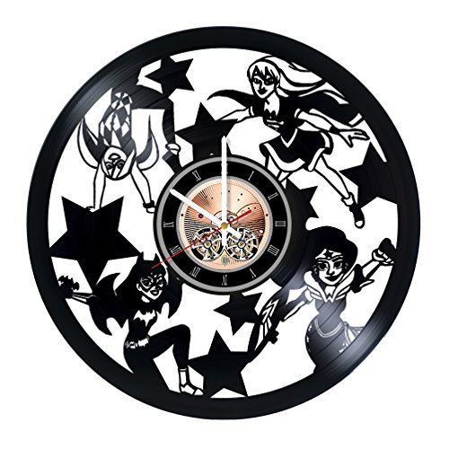 DC Superhero Girls Vinyl Record Wall Clock - Nursery room or Kids Room wall decor - Gift ideas for kids, children, sister, girls - Cute Unique Art Design