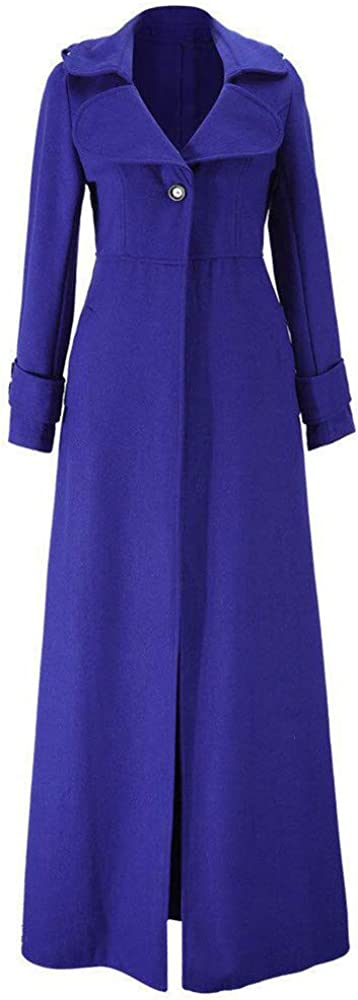 MERICAL Donna Inverno Risvolto Slim Trench Coat Long Jacket Parka Cappotto Outwear
