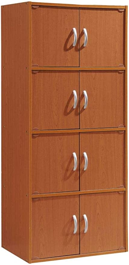 Amazon Com Hodedah 4 Shelf Bookcase Cabinet Cherry Furniture Decor
