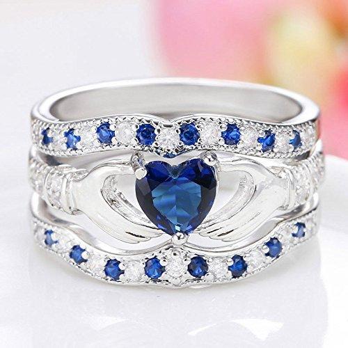 3Pcs Irish Claddagh Celtic Heart Sapphire 925 Silver Ring Wedding Bridal Set New (9)