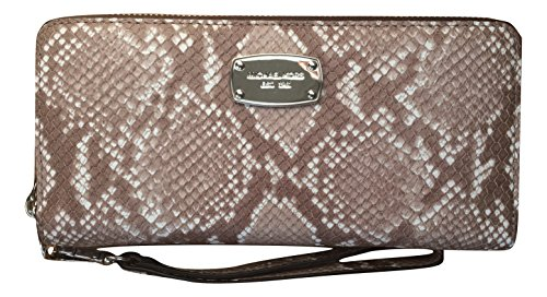 396b31fd333eb1 Michael Kors Leather Jet Set Travel Embossed Leather Continental Zip Around  Wallet Wristlet (Dark Sand