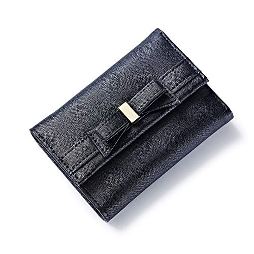 Bow Design Ladies Wallets Leather Trifold Female Short Purse Brand Women Wallet With Zipper Coin in Back & Card Holder,Black
